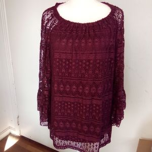 New directions maroon top size L